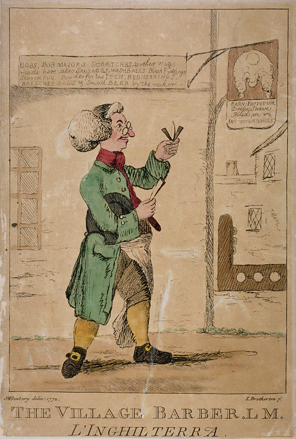 The Village Barber by H Bunbury 1772