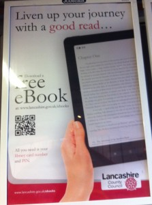 An advert by Lancashire County Council featuring a nice use of a QR code