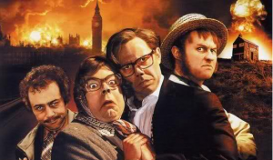 Characters from the League of Gentlemen comedy against a backdrop of the London skyline and image of a local shop