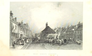 Drawing of a street scene including people and animals