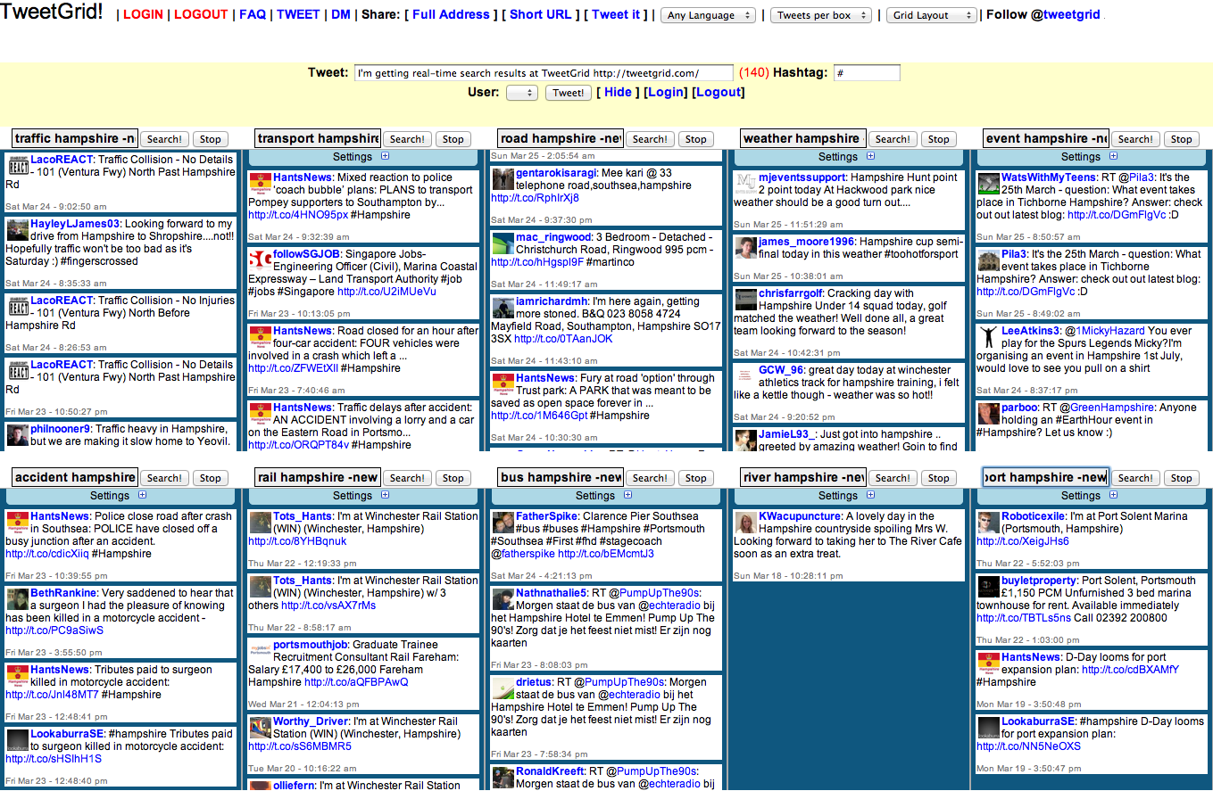 TweetGrid an excellent Twitter monitoring tool (screenshot)
