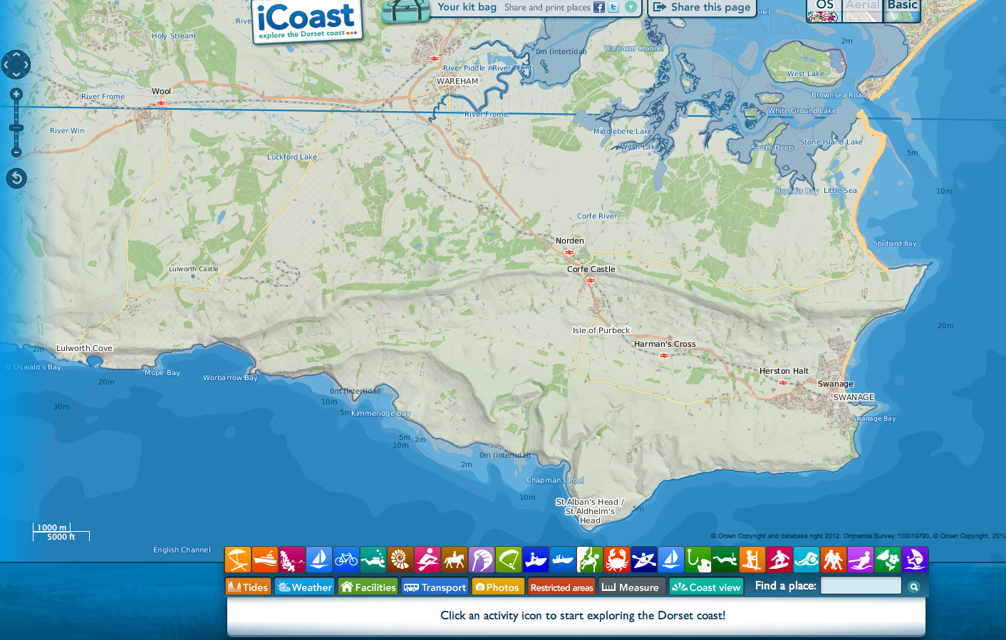 iCoast app based on Open Data from Ordnance Survey