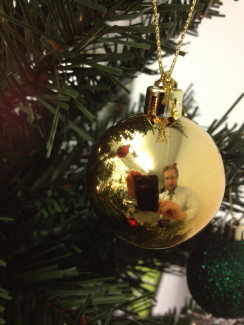 Photographer reflected in Christmas Tree bauble