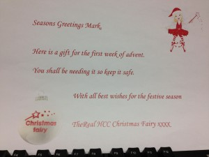 Personalised message from the Christmas Fairy